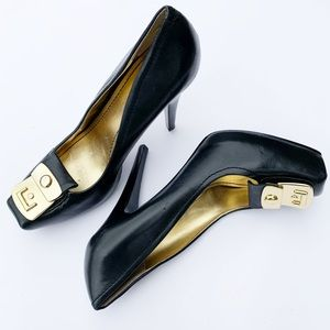 Nine West Black Leather Stiletto Heels w/Gold 8.5